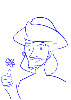Drawing of Guildenstern and/or Rosencrantz wearing a tricorn hat and flipping a coin. The heads side is slightly visible. The character looks concerned and befuddled.